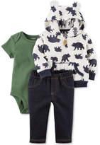 Carter's 3-Pc. Printed Hoodie, Bodysuit & Jeans Set, Baby Boys (0-24 months)