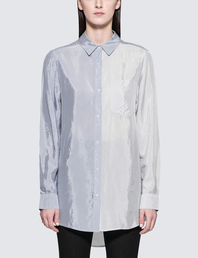 Alexander Wang Shiny Striped Shirting L/S Button Down