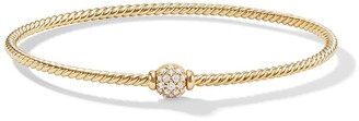 David Yurman 18kt yellow gold Petite Solari Station diamond bangle