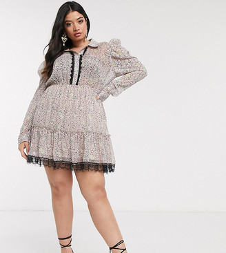 Pretty Darling Plus floral ruched shirt dress with lace trim