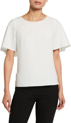 Akris Punto Laser-cut Crepe Batwing Sleeve Shirt