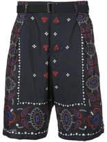 Sacai Paisley Print Belted Shorts - Blue - Size JP4