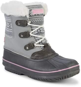 London Fog Fair Isle-Print Faux Fur-Lined Winter Boots
