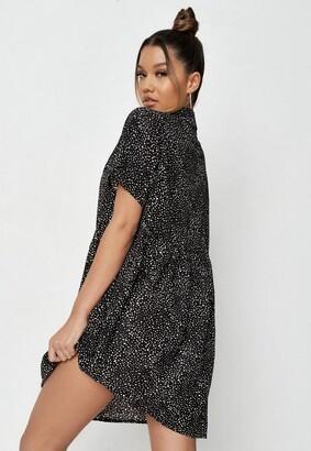 Missguided Tall Black Dalmatian Print Smock Dress