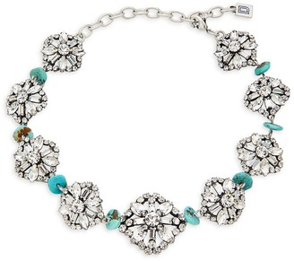 Dannijo Betsy Swarovski Crystal Synthetic Turquoise Necklace