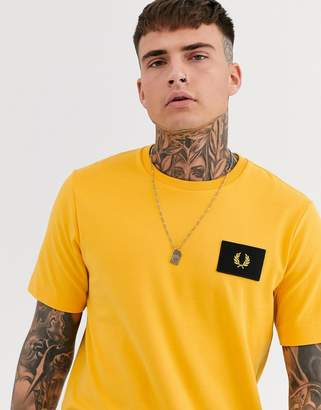 Fred Perry patch logo t-shirt in yellow