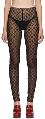 Gucci Black Tulle GG Embroidered Leggings