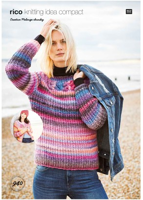 Rico Design Cotton Melange Chunky Women's Jumper Knitting Pattern, 940