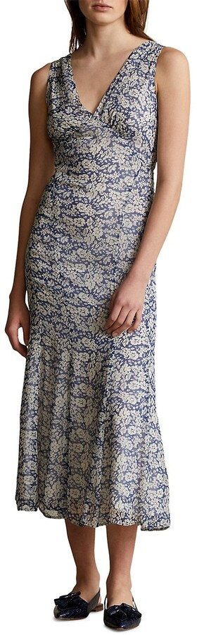 Polo Ralph Lauren Floral-Print V-Neck Midi Dress