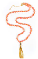 Arizona Beaded Gold-Tone Tassel Necklace
