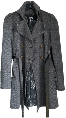 Dolce & Gabbana Grey Wool Trench Coat for Women