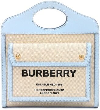 Burberry Mini Pocket Logo Canvas & Leather Tote