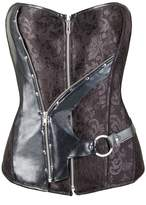 Little Hunter Women's Gothic Slimming Jacquard Zipper Lace Up Corset and Bustiers