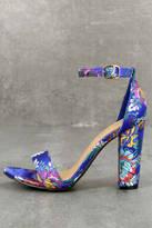 Bamboo Veda Blue Brocade Ankle Strap Heels