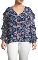 Vince Camuto Plus Floral-Print Ruffle Top