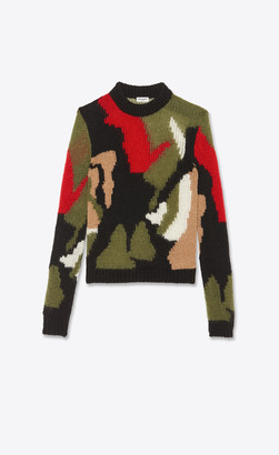 Saint Laurent Camo-print Sweater In Wool And Mohair Intarsia Multicolor Black L