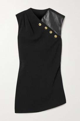 Proenza Schouler Button-embellished Crepe And Faux Leather Top - Black