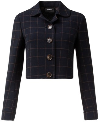 Akris Plaid Wool-Blend Double Face Cropped Jacket