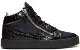 Giuseppe Zanotti Black and Navy May London High-top Sneakers