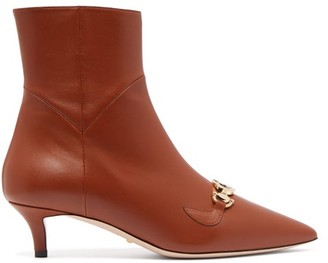 Gucci Zumi Leather Ankle Boots - Tan