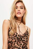 Missguided Bronze Moon Bolo Necklace