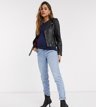 Topshop Maternity mom overbump jeans in bleach wash