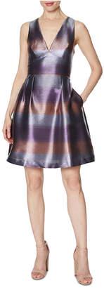 Laundry by Shelli Segal Striped Metallic Fit & Flare Dress