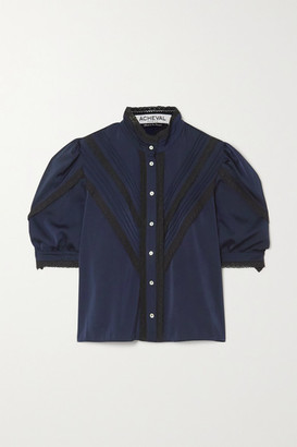 ÀCHEVAL PAMPA Yegua Pleated Lace-trimmed Satin Blouse - Blue