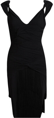 Balmain Black Silk Fringe Detail Gathered Dress M