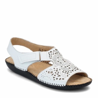 Naturalizer Womens Scout White Leather Flat Sandals 7 N