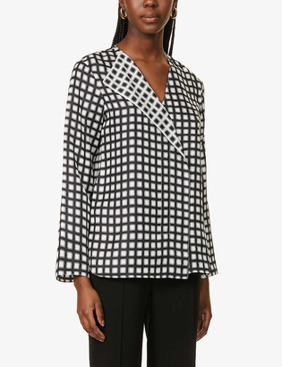 Theory Checked long-sleeved silk top