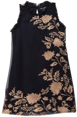 AVA AND YELLY Sleeveless Tulle Mock Neck Floral Dress (Little Girls)