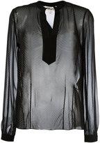 Diane von Furstenberg polka dots sheer shirt