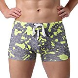 HP95(TM) Men Camouflage Swimming Pants Briefs Shorts Boxers Underwear (XL, Green)