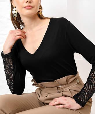 Alacati Women's Blouses Black - Black Lace-Accent V-Neck Long Sleeve Top - Women