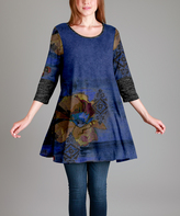 Aster Blue & Gray Damask Swing Tunic - Plus - Plus Too