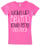 Micro Me Hot Pink 'Wake Up Be Kind' Fitted Tee - Infant Toddler & Girls