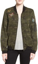 Sanctuary Women's Butterfly Patch Camo Bomber Jacket