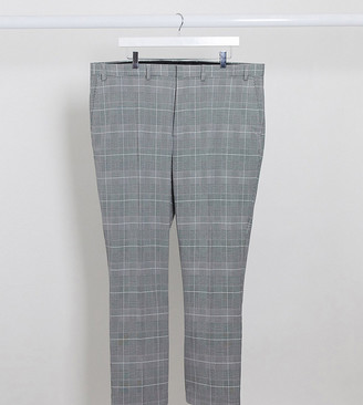 Burton Menswear Big & Tall slim suit trousers in grey prince of wales check