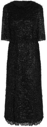 Dolce & Gabbana Lace-trimmed Tinsel Midi Dress