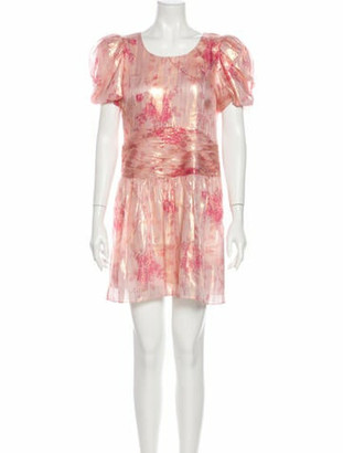 LoveShackFancy Silk Mini Dress Pink