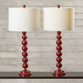 "Willa Arlo Interiors Gail 31"" Table Lamp Set Base Color: Dark Emerald Green"