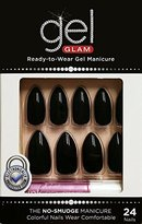 Kiss Gold Finger Gel Glam 24 Nails GFC08 BLACK Stilitto Style