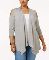 Belldini Plus Size Cold-Shoulder Cardigan