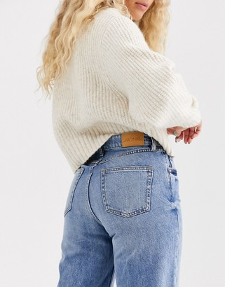 Monki Mozik wide leg organic cotton jeans in vintage blue