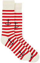 Barneys New York MEN'S ANCHOR-MOTIF STRIPED MID-CALF SOCKS-IVORY