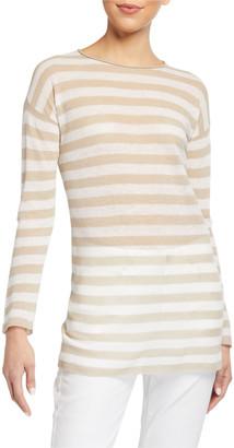 Eileen Fisher Petite Striped Long-Sleeve Organic Linen/Cotton Tunic