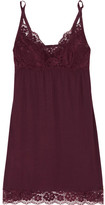 Eberjey Lila Lace-trimmed Stretch-modal Chemise - Claret