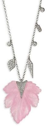 Meira T 14K White Gold, Pink Quartzite & Diamond Leaf Necklace