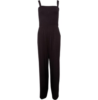 Fluid Womens Basic Strappy Jumpsuit Black
